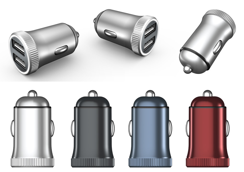 Our Mini USB Car Charger comes in many color such as silver, black, blue, red and many more.